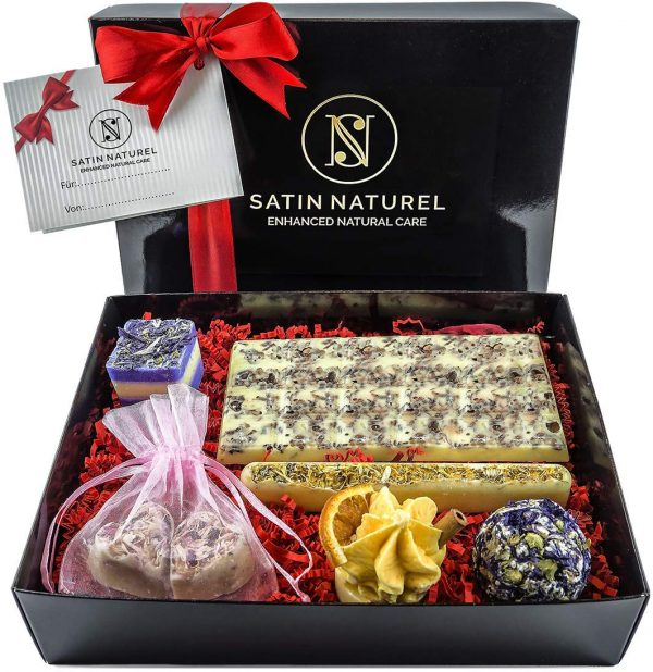 Organic Bath Bombs In Elegant Gift Box With Real Satin Bow