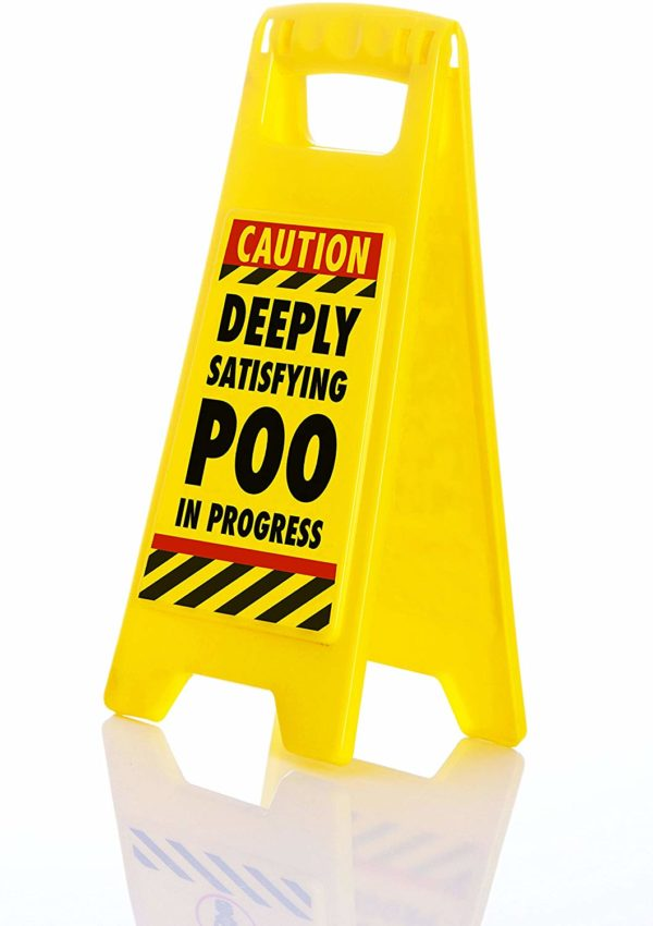Boxer Deeply Satisfying Poo in Progress Novelty Toilet Humour Warning Sign